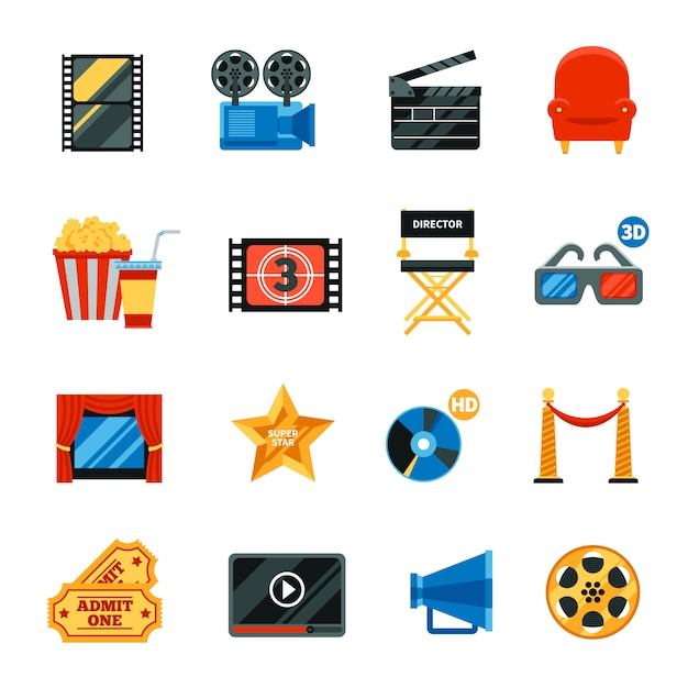 Flat cinema decorative icons set Free Vector
