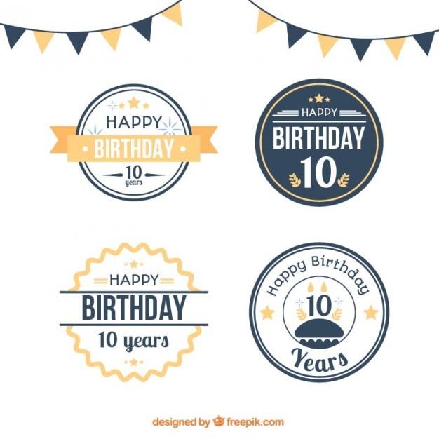 Flat circular birthday badges Premium Vector