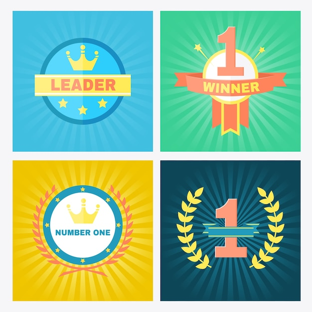 Flat circular vector winner emblems incorporating the number 1 and crowns in laurel wreaths Free Vector