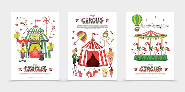 Flat circus posters Free Vector