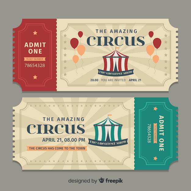 Flat circus ticket template Free Vector