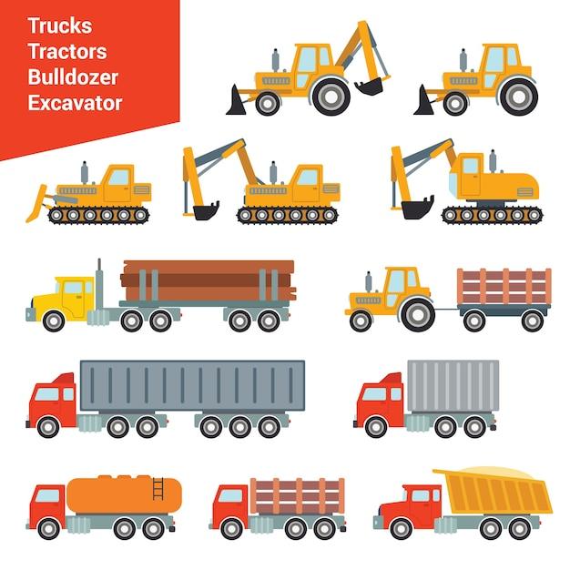 Insieme di trasporto di costruzione città piatta. escavatore gru livellatrice calcestruzzo betoniera rullo fossa autocarro con cassone ribaltabile caricatore carro attrezzi camion. costruisci la tua collezione mondiale. Vettore gratuito