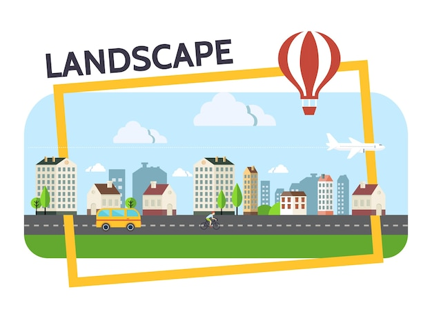 フレームイラストで建物雲道路バス飛行機と熱気球輸送とフラットな都市景観構成 無料ベクター