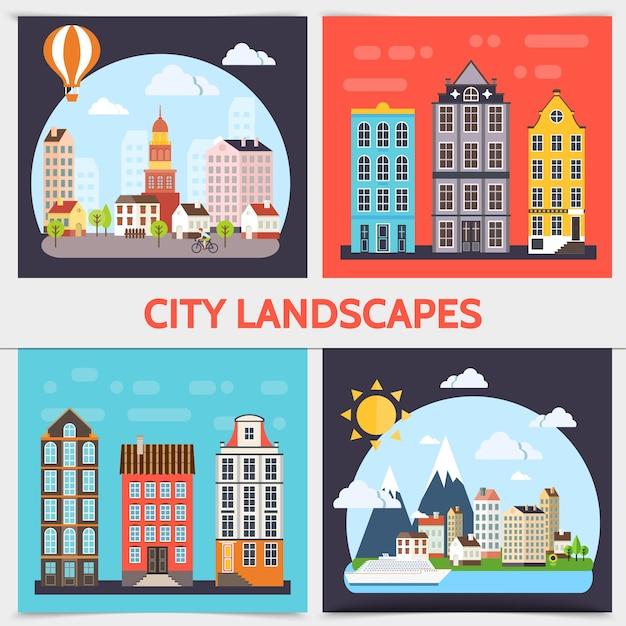 建物、雲、太陽の木、船、熱気球のイラストとフラットな街の風景の正方形の概念 無料ベクター