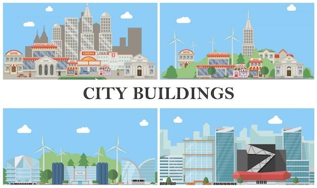 Плоская композиция городских пейзажей с кинотеатром, гостиницей, торговым центром, больницей, кафе, полицейским участком, зданиями банка, ветряными мельницами, современным городским пейзажем. Бесплатные векторы