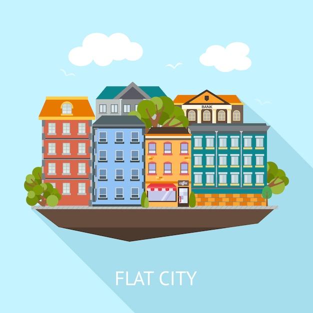 平らな都市の長い影の組成物色の建物と青い空、ベクトル図の緑の木々 無料ベクター
