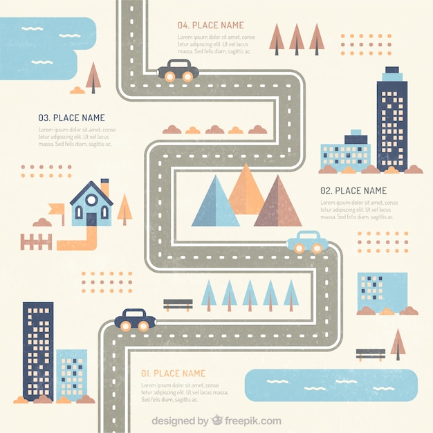 flat city road infographic vector