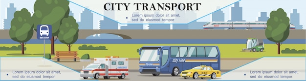 Flat city transport background with ambulance taxi cars bus sweeper and train moving on bridge Free Vector