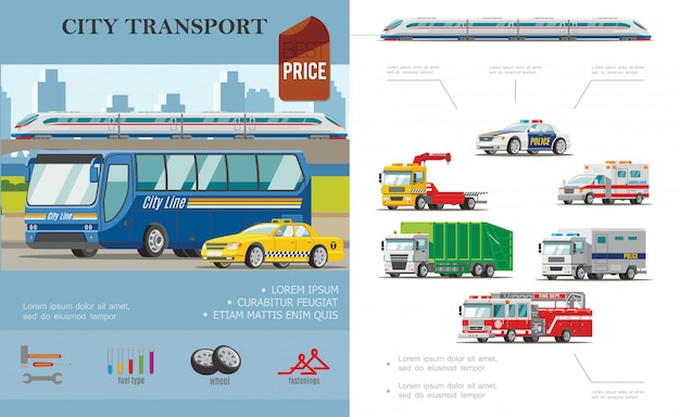 Flat city transport composition with bus taxi ambulance cars tow fire and garbage trucks Free Vector