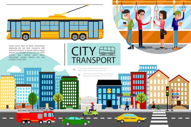 Flat city transport concept with cityscape cars motorbike fire truck moving on road and passengers riding by trolley bus Free Vector