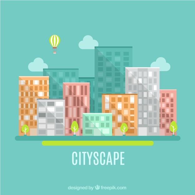 Flat cityscape in modern style