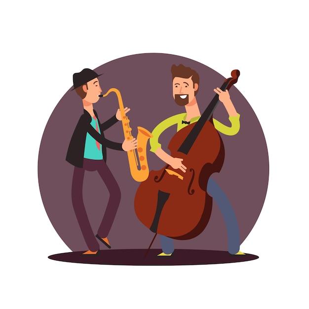 Flat  classic instrumental duet musicians cartoon characters Premium Vector