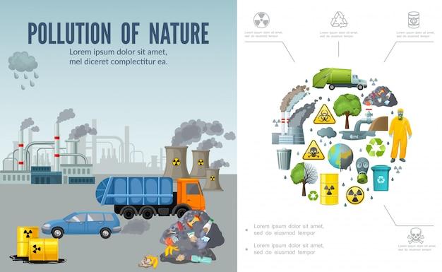 Composizione di inquinamento climatico piatto con barili di auto camion della spazzatura di camini di fabbrica di rifiuti terra albero uomo in tuta protettiva maschera riciclare segno Vettore gratuito