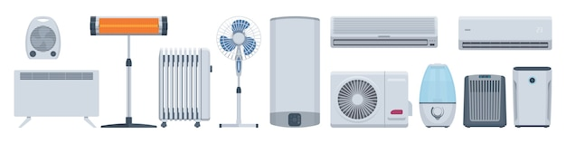 Flat climatic appliances set. conditioners, heaters & other.  illustration. collection Premium Vector