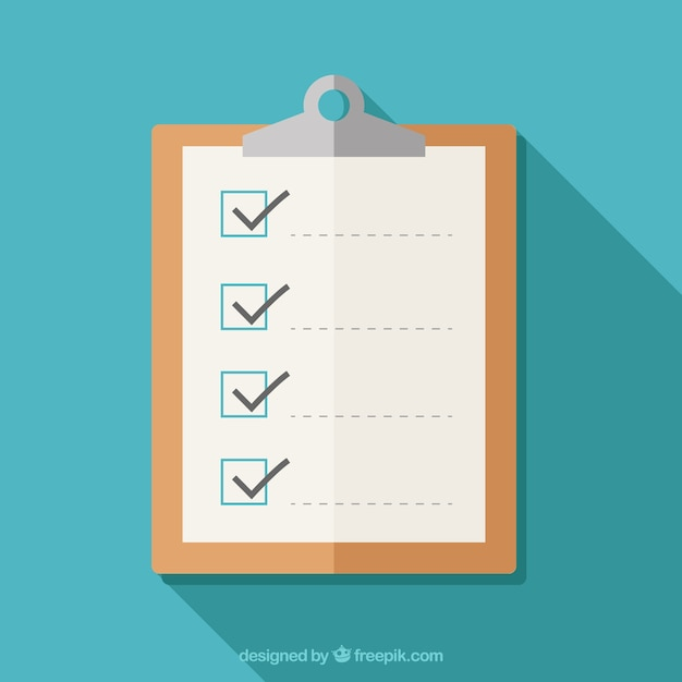 Flat clipboard with checklist Free Vector