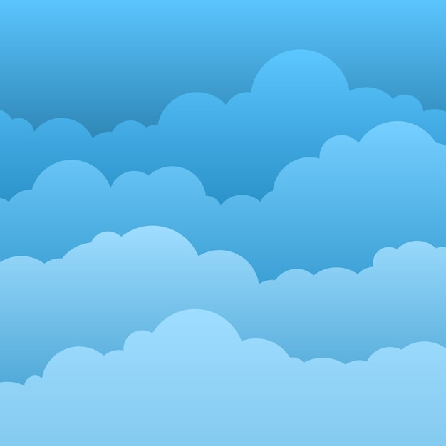 Плоские облака. голубое небо с бумажными облаками шаржа. Premium векторы