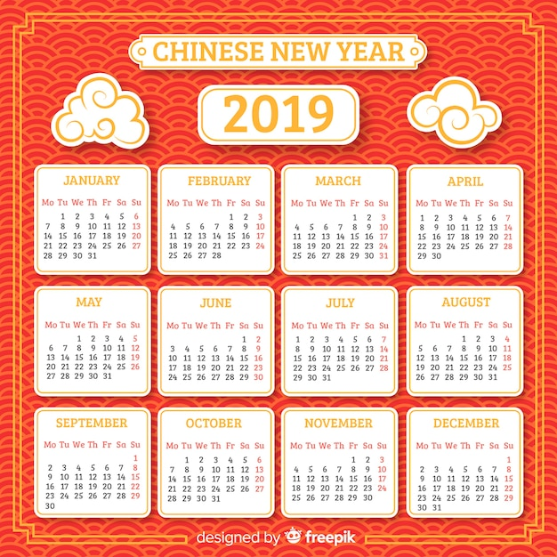 Flat clouds chinese new year calendar Free Vector