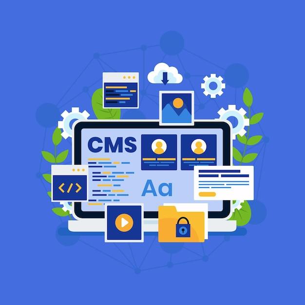 Illustrazione di concetto di cms piatto Vettore gratuito