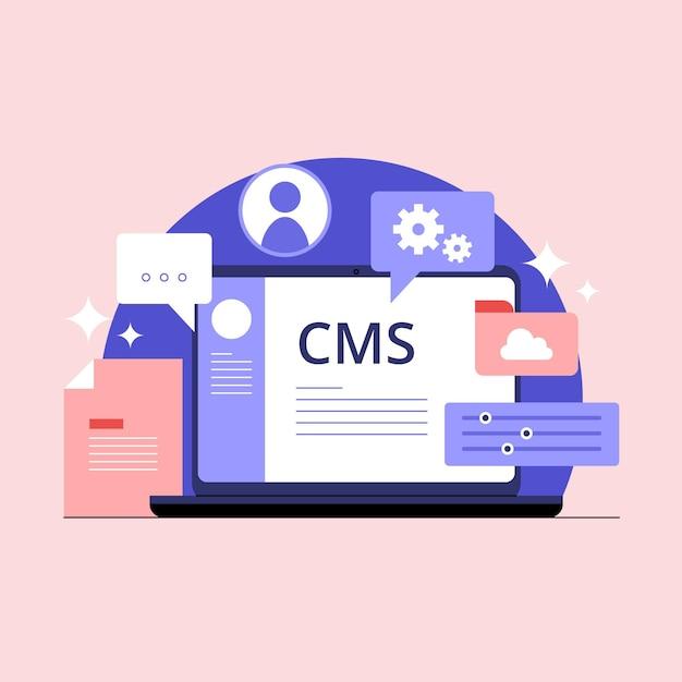 Flat cms concept illustration Premium Vector
