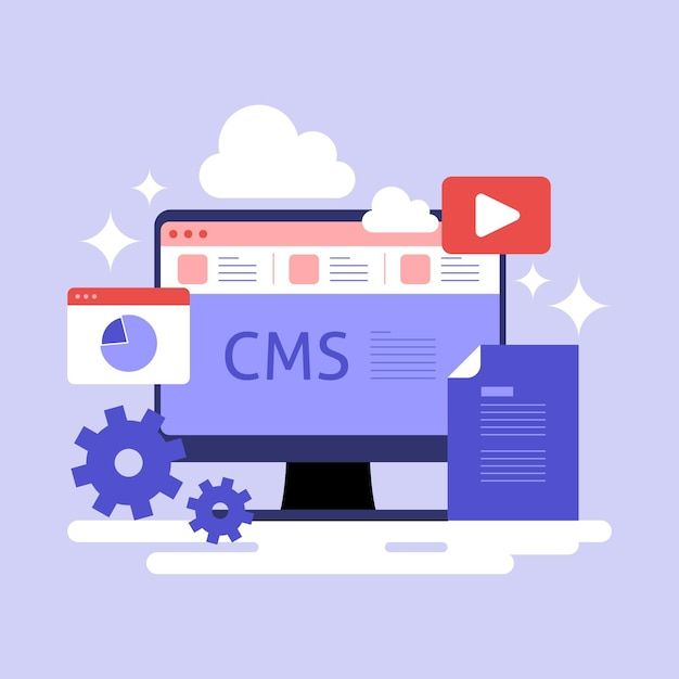 Flat cms concept illustration Premium Vector