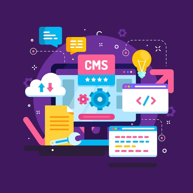 Flat cms concept illustration Free Vector