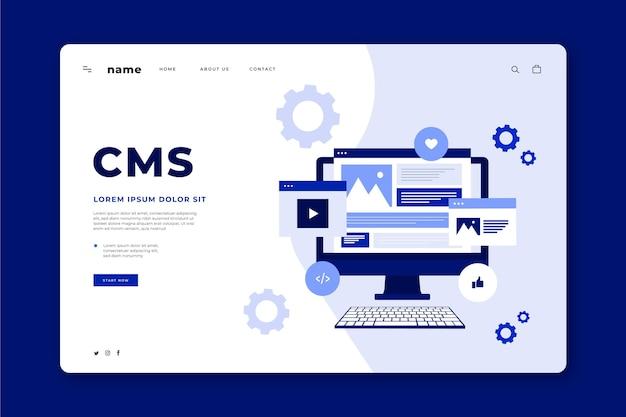 Плоский концептуальный веб-шаблон cms Бесплатные векторы