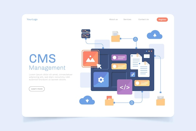 フラットcmsコンテンツのランディングページスタイル 無料ベクター