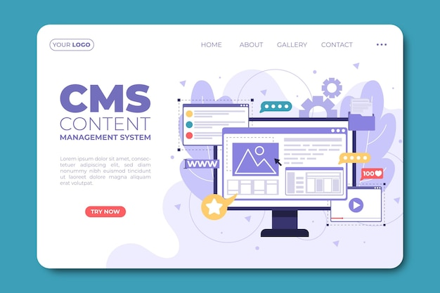 Pagina di destinazione del contenuto cms piatto Vettore gratuito