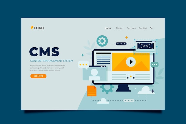 Flat cms content template Free Vector