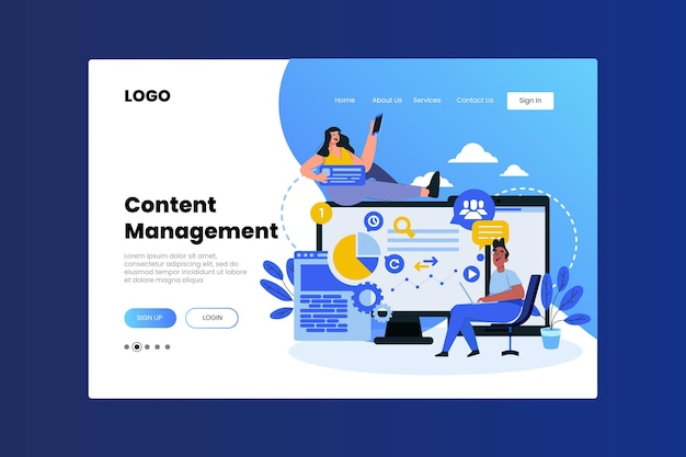 Flat cms homepage Free Vector