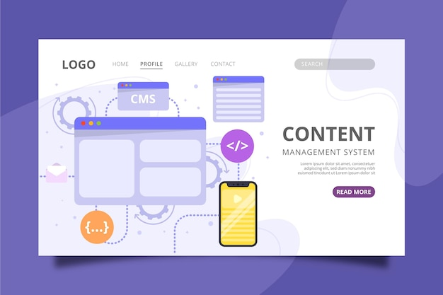 Flat cms landing page template Free Vector