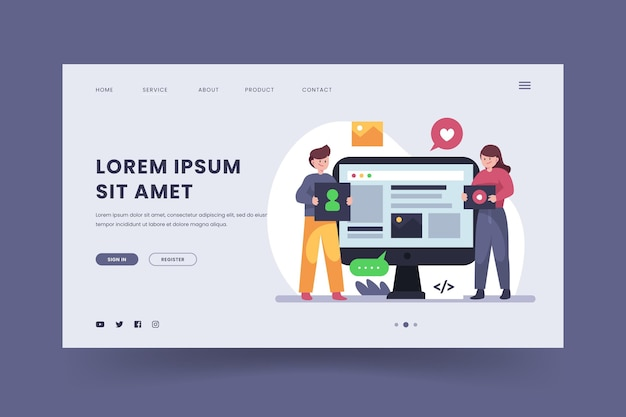 Flat cms landing page Free Vector