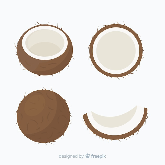 Flat coconut collection Free Vector