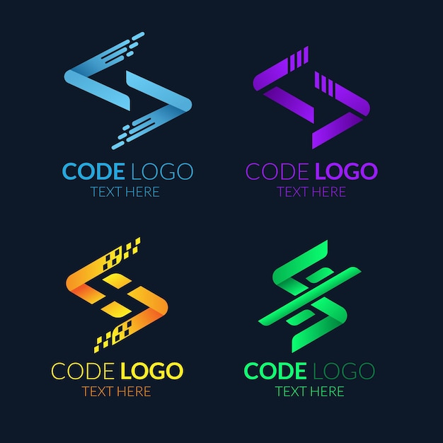 Flat code logo collection Free Vector