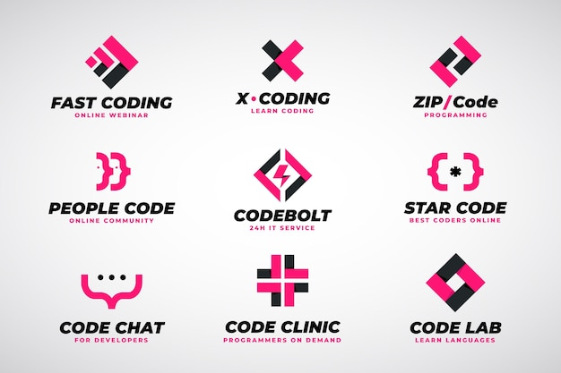 Коллекция логотипов flat code Бесплатные векторы