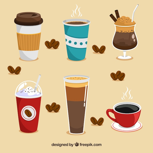Flat coffee cup collection Free Vector