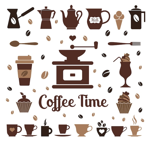 Flat coffee icons Free Vector