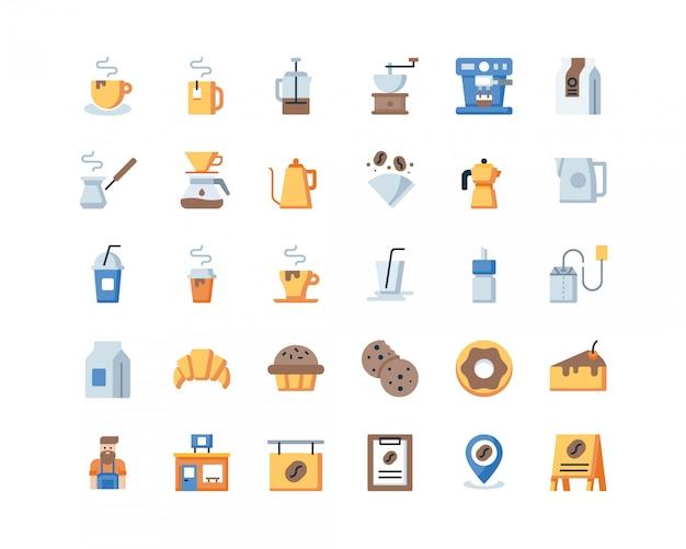 Flat coffee icons. Premium Vector