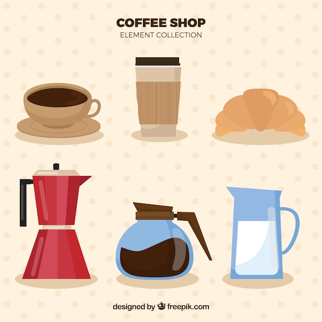 Flat coffee item collection Free Vector