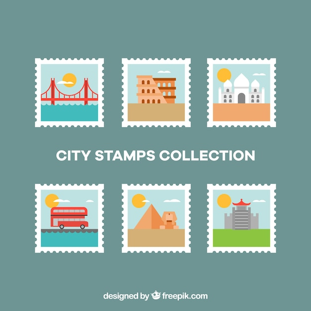 Flat collection of city stamps Free Vector