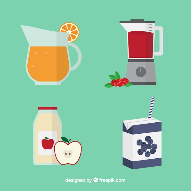 Flat collection of different fruit juices Free Vector