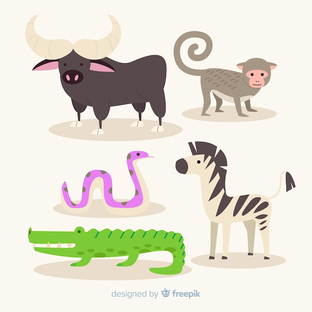 Flat collection of exotic animals Free Vector