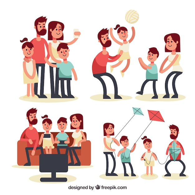 Flat collection of family doing different activities Free Vector