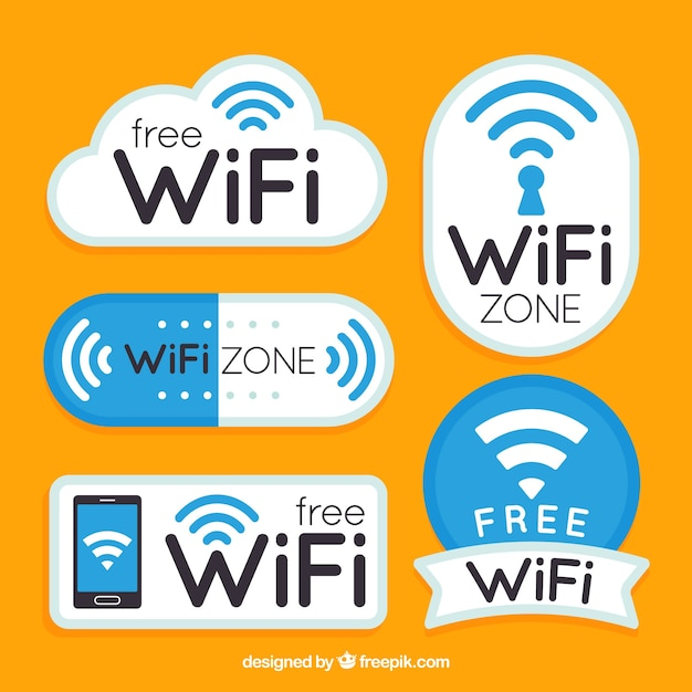 Flat collection of fantastic wifi stickers Vector   Free