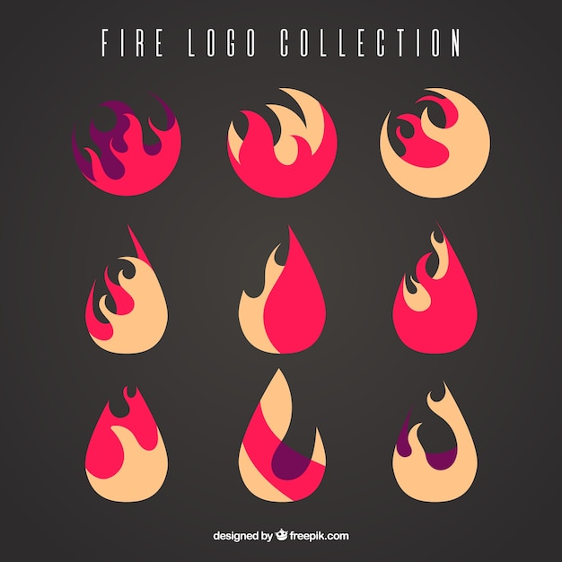 Flat collection of fire logos Free Vector