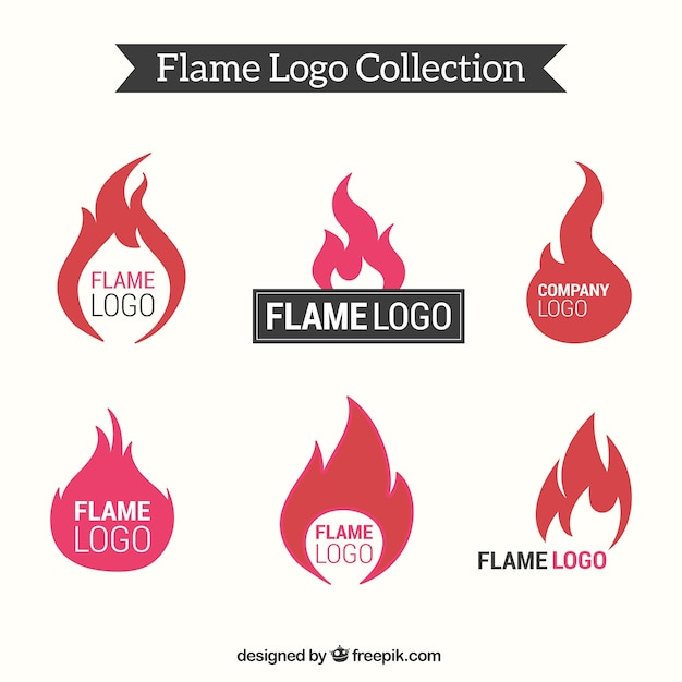 Flat collection of flame logos Free Vector