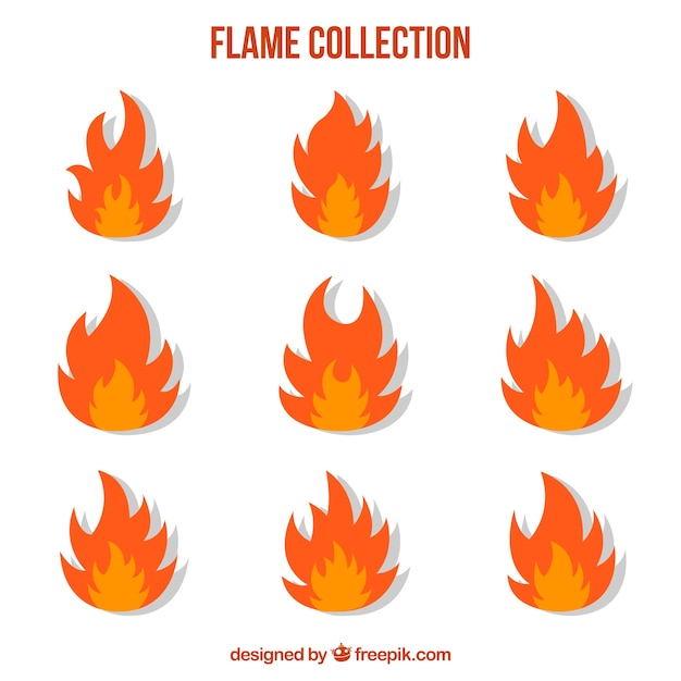 Flat collection of flames in two colors Free Vector