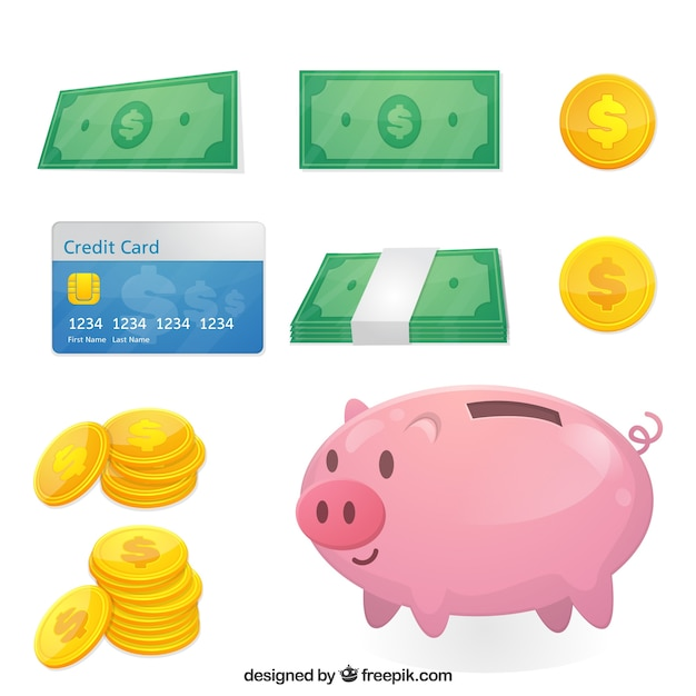 Flat collection of money elements Free Vector