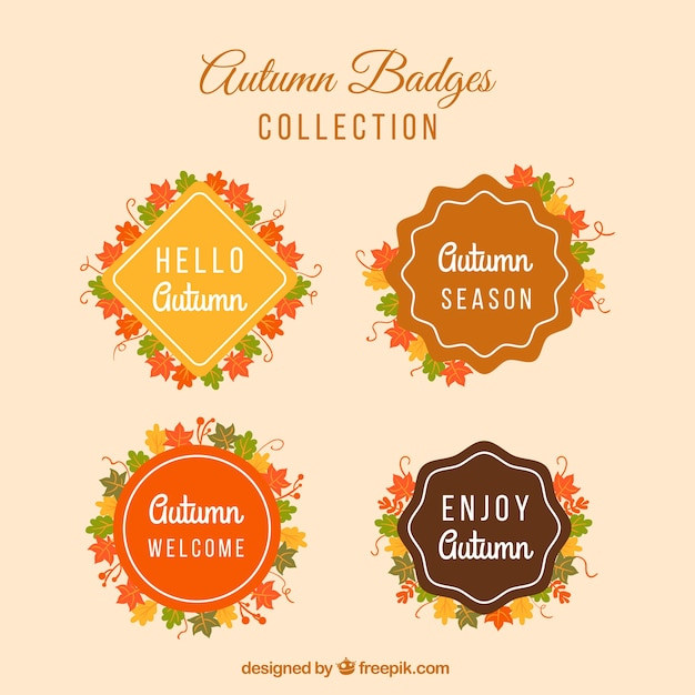 Flat collection of autumn badges
