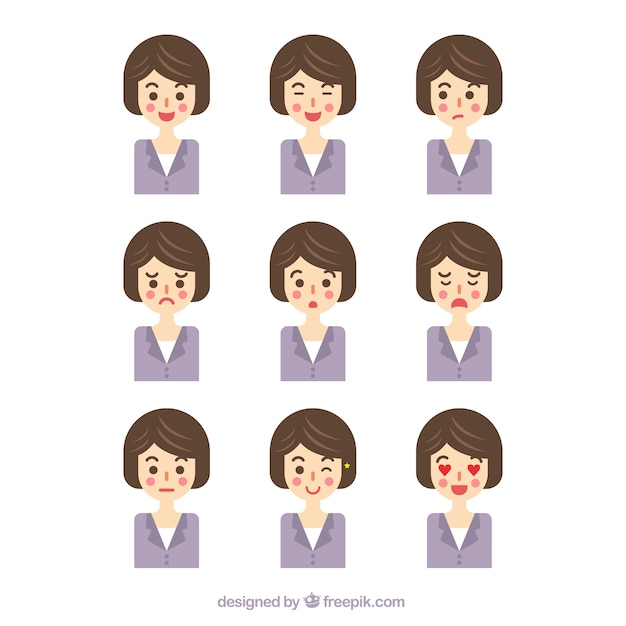 Flat collection of businesswoman with facial\ gestures